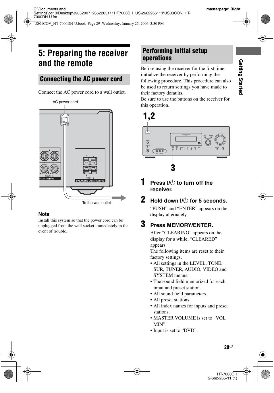 preparing the receiver and the remote e 29 connecting the ac power rh manualsdir com sony str-k7000 remote sony str k700 manual pdf