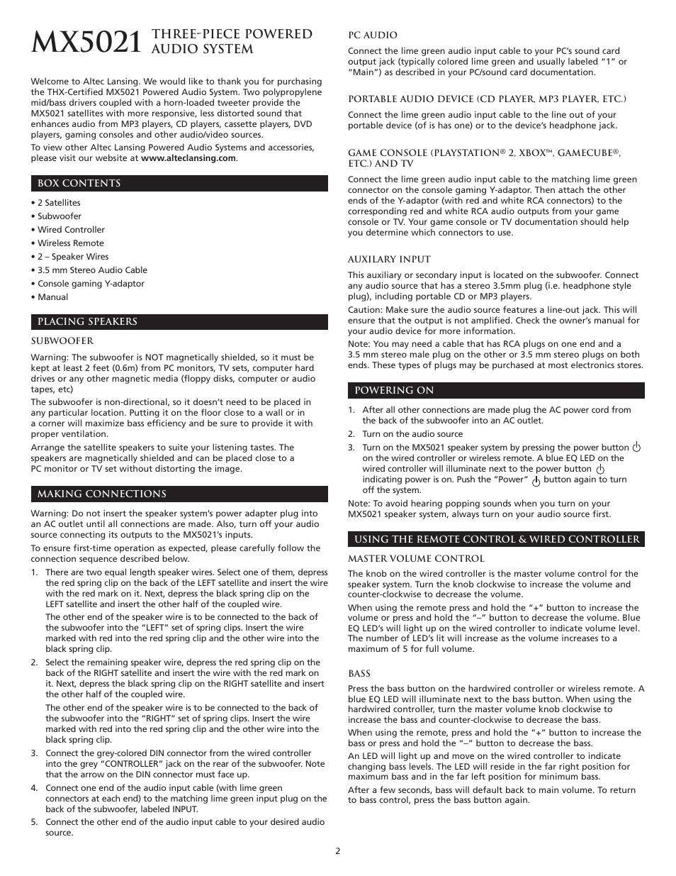 Mx5021 Three Piece Powered Audio System Altec Lansing Thx 3 5 Mm Jack Wiring Green Blue White User Manual Page 4 20
