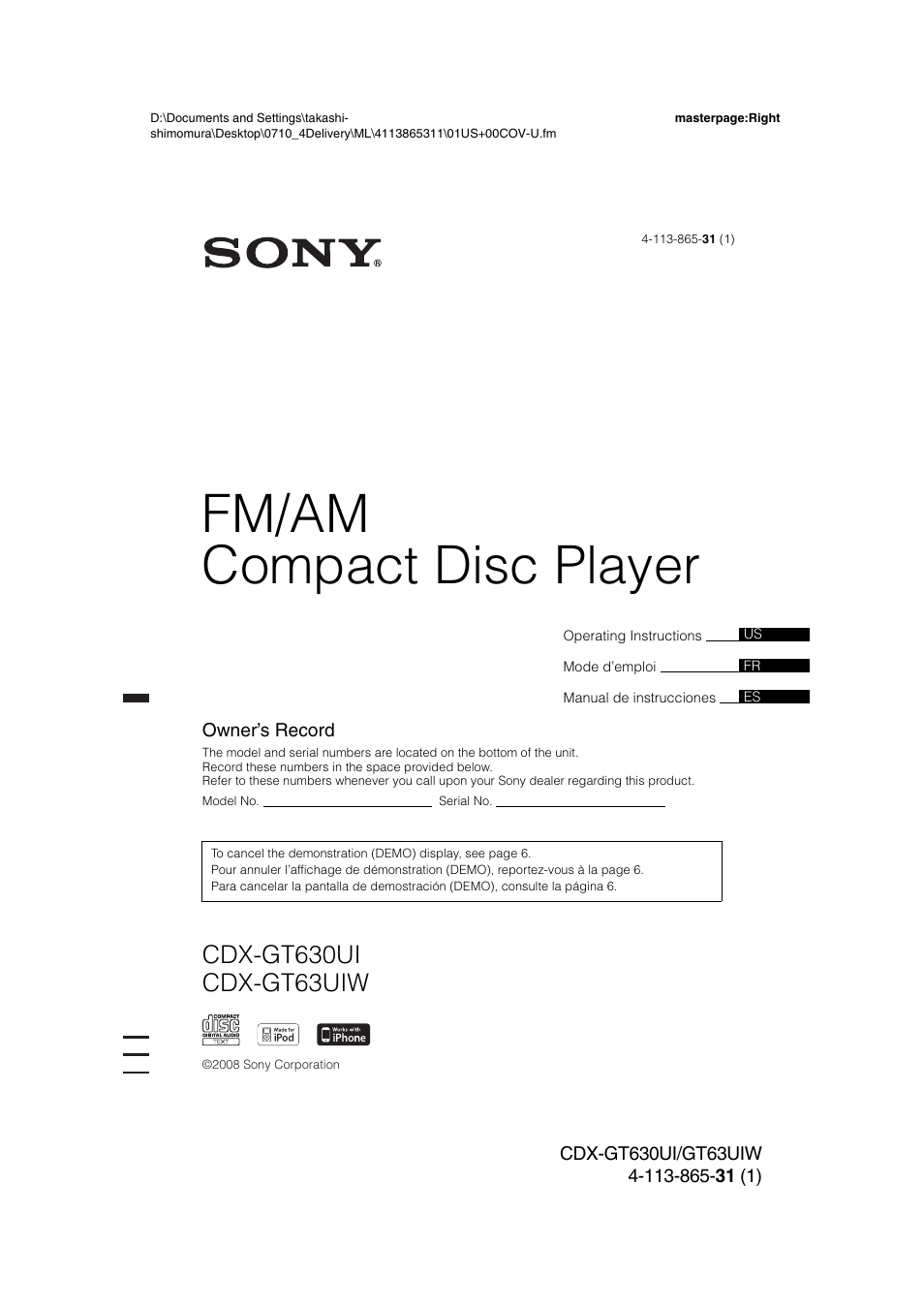 sony cdx gt630ui user manual 80 pages also for cdx gt63uiw