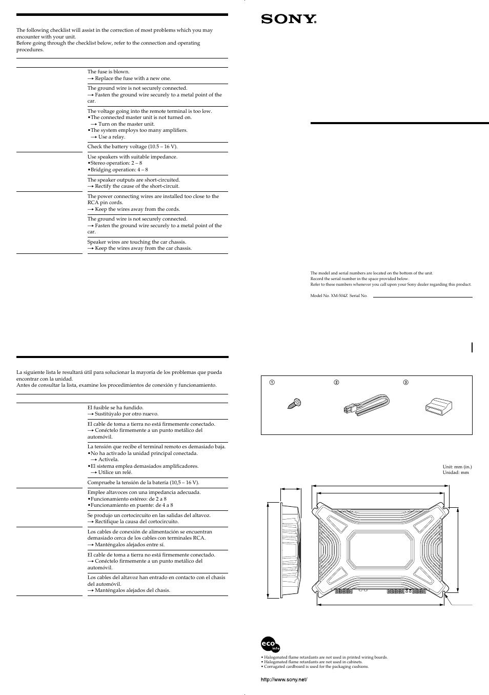 Stereo power amplifier, Xm-504z, Troubleshooting guide | Guía de solución  de problemas