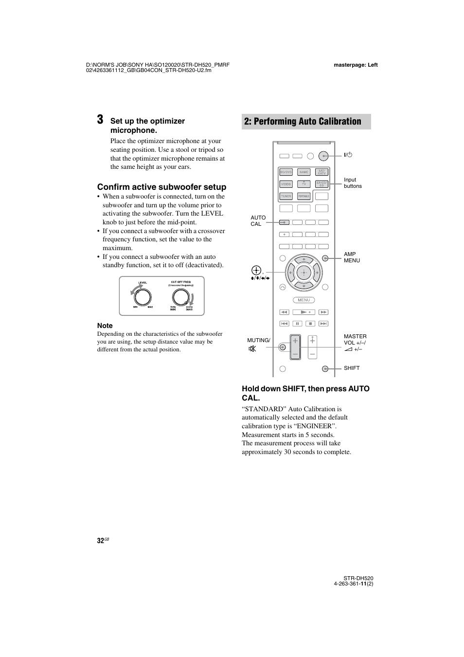 performing auto calibration confirm active subwoofer setup sony rh manualsdir com