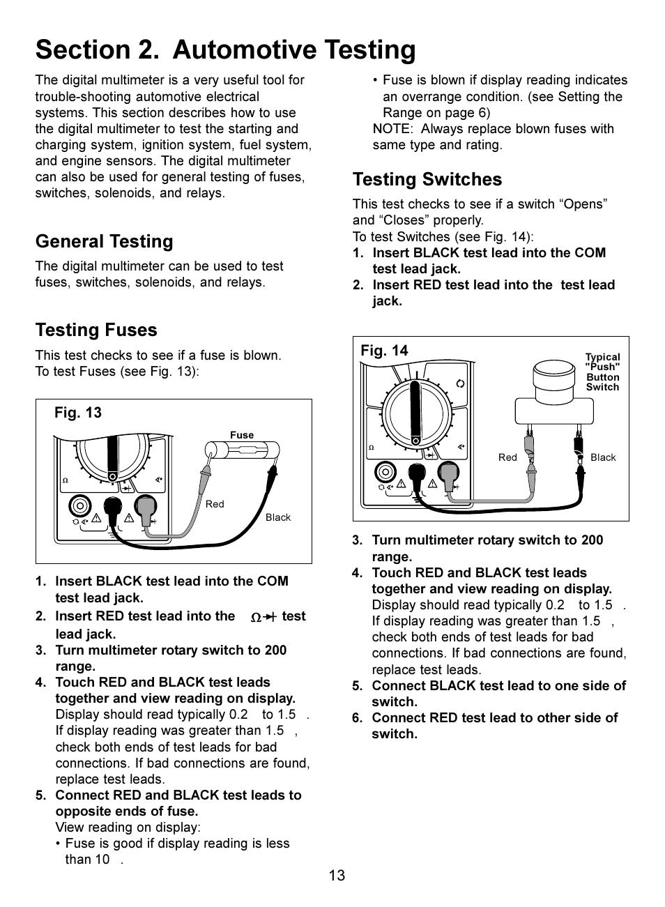 general testing testing fuses testing switches actron digital rh manualsdir com Amprobe Multimeter Actron Voltmeter