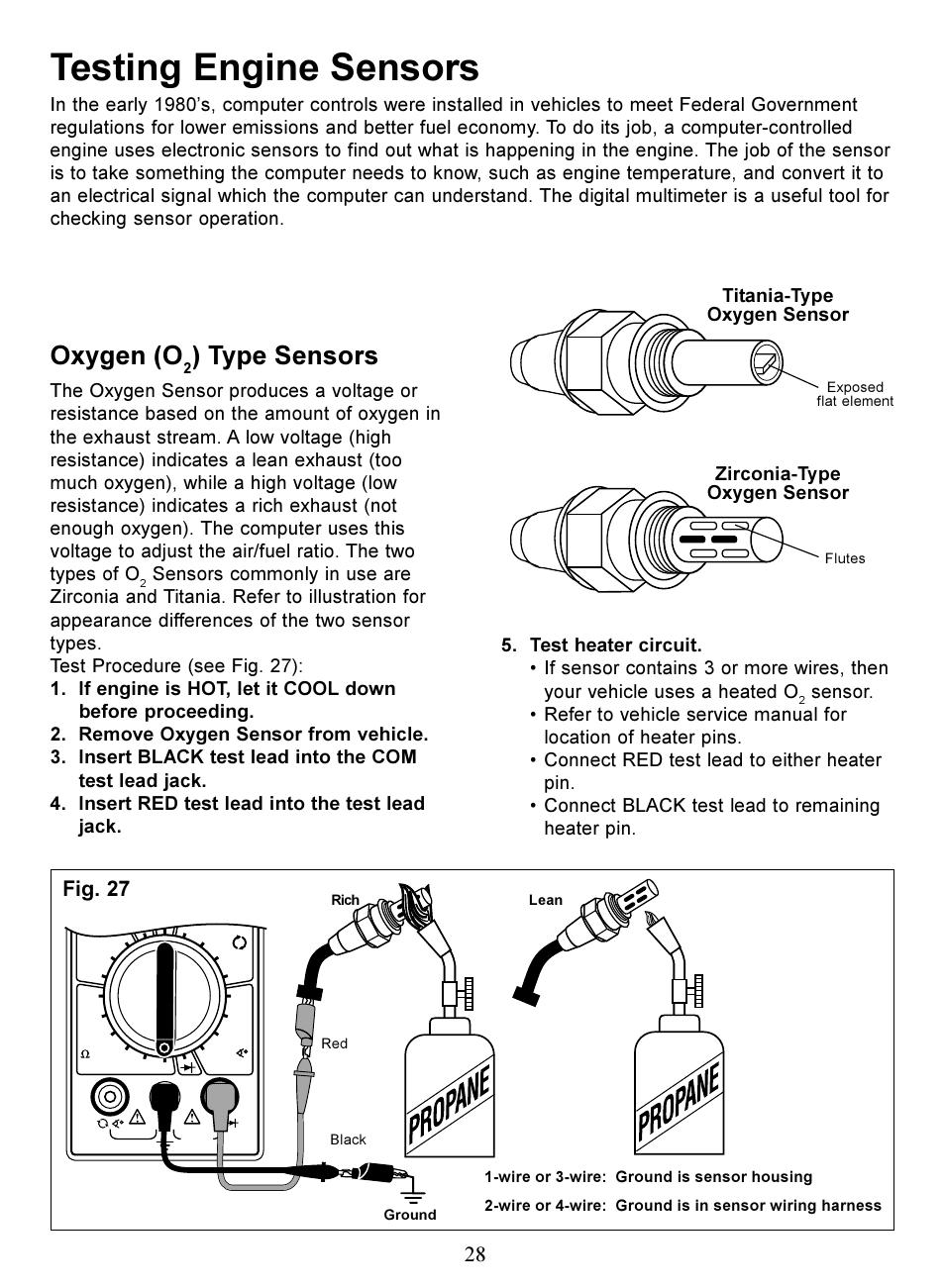testing engine sensors oxygen o type sensors actron digital rh manualsdir com Actron Meters Actron Professional Series Voltmeter Manual