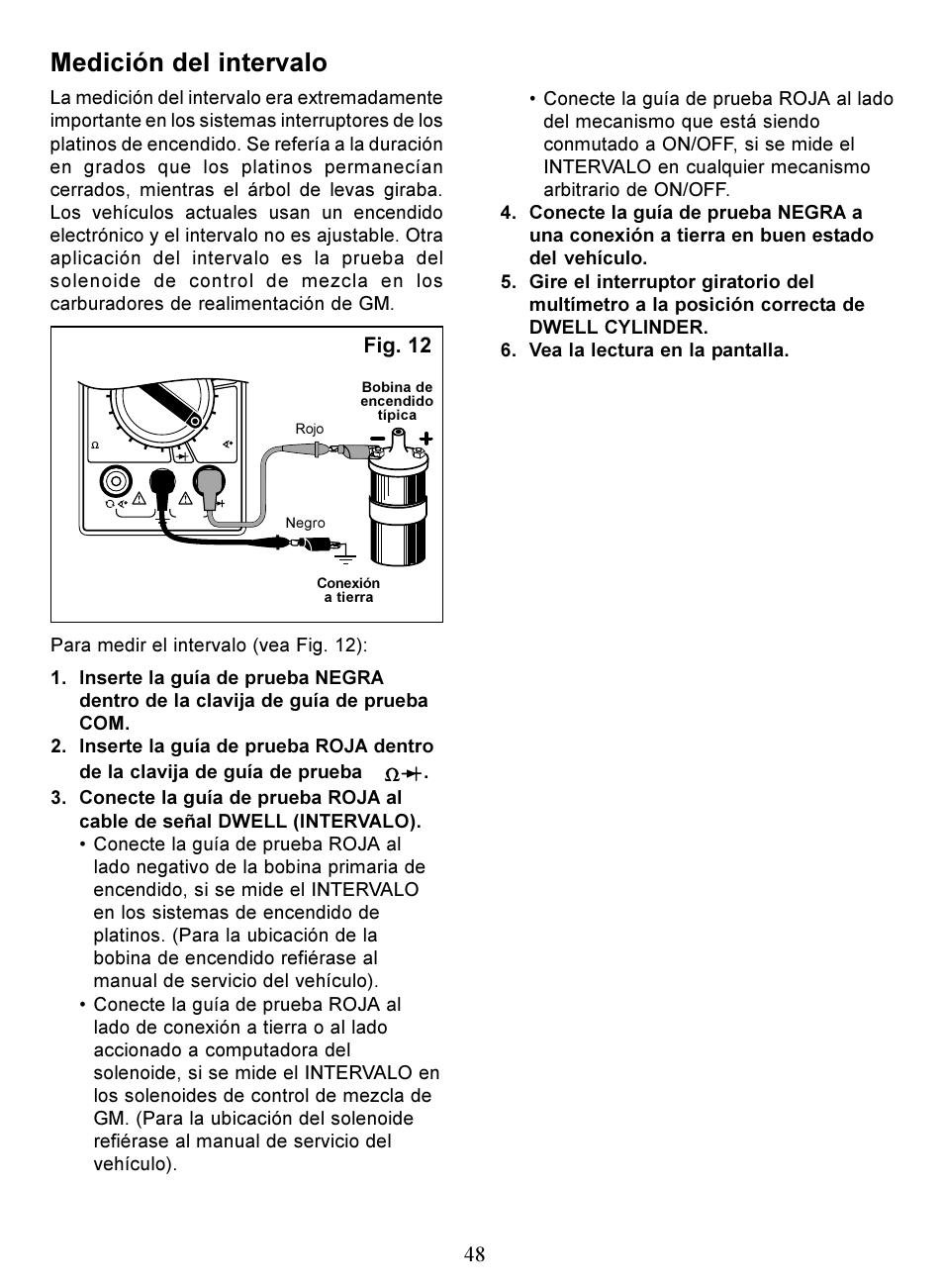medici n del intervalo fig 12 actron digital multimeter cp7676 rh manualsdir com Actron CP7672 Digital Multitester Actron Automotive DMM