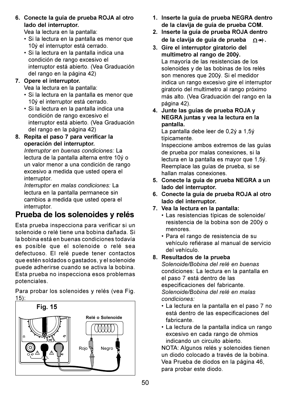 prueba de los solenoides y rel s fig 15 actron digital rh manualsdir com Profressional Actron Seriesmultimeter Actron Professional Series Voltmeter Manual