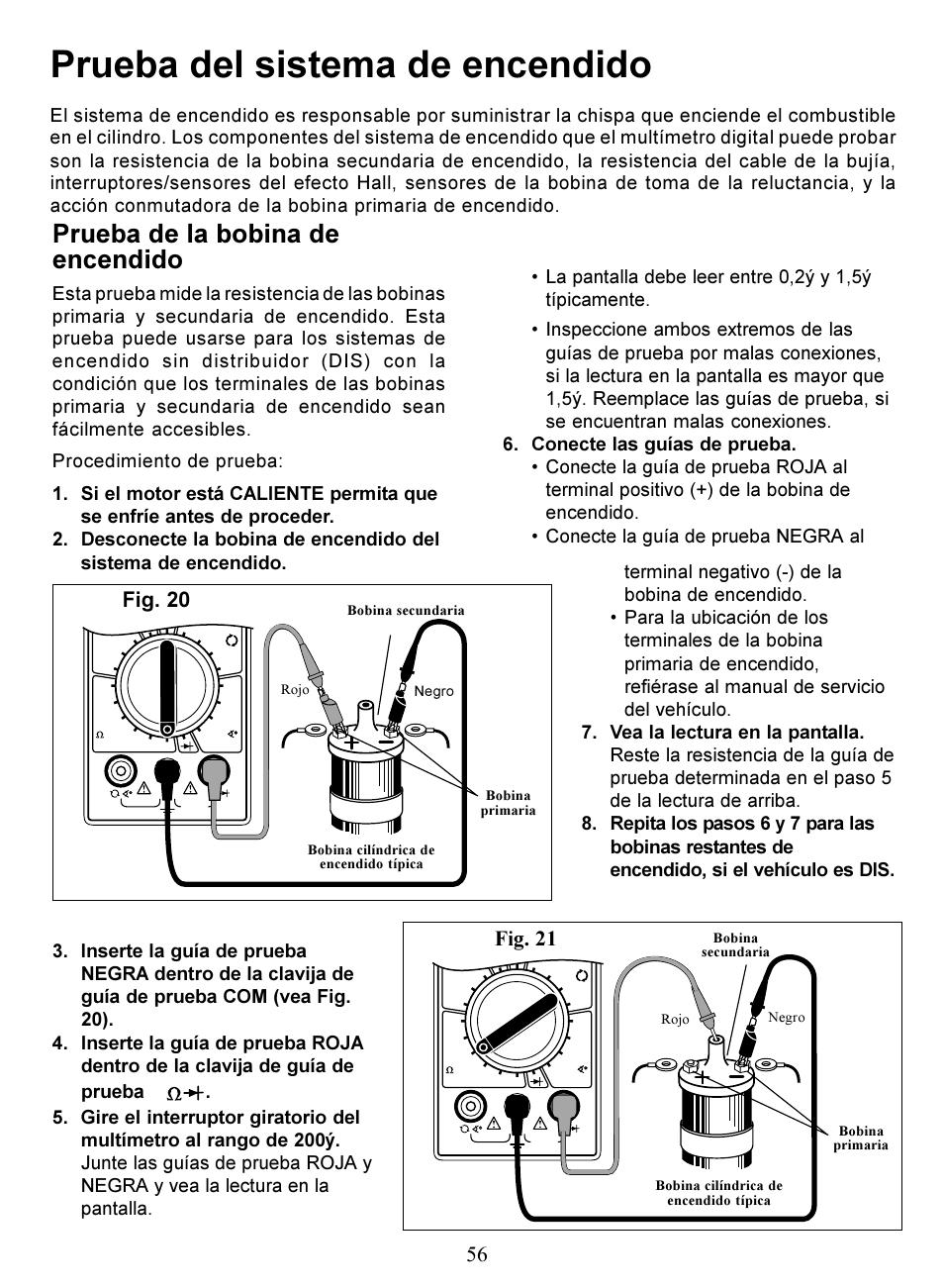 prueba del sistema de encendido prueba de la bobina de encendido rh manualsdir com Amprobe Multimeter Profressional Actron Seriesmultimeter