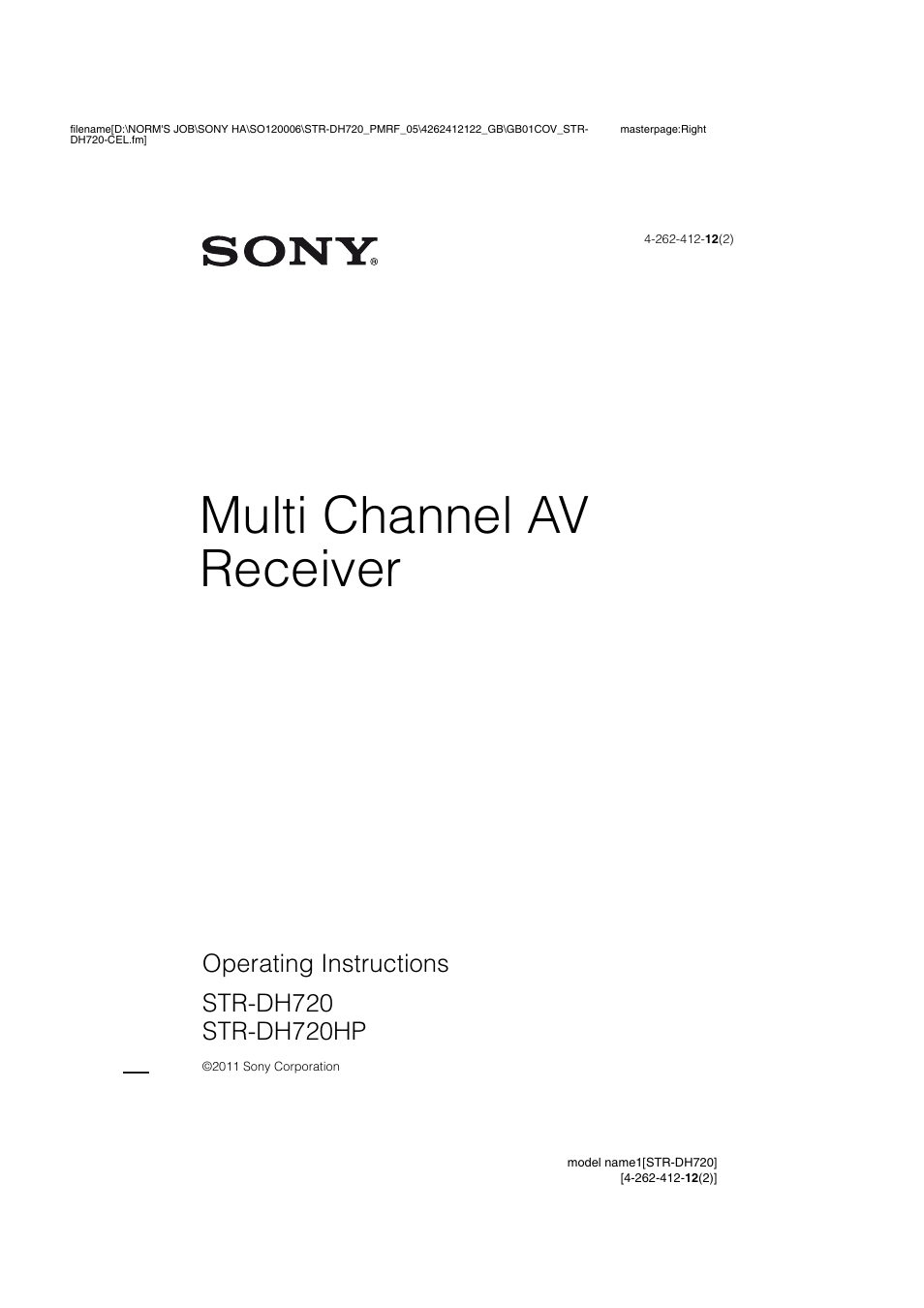 Sony str-dh720 manual multi-channel av receiver hifi engine.