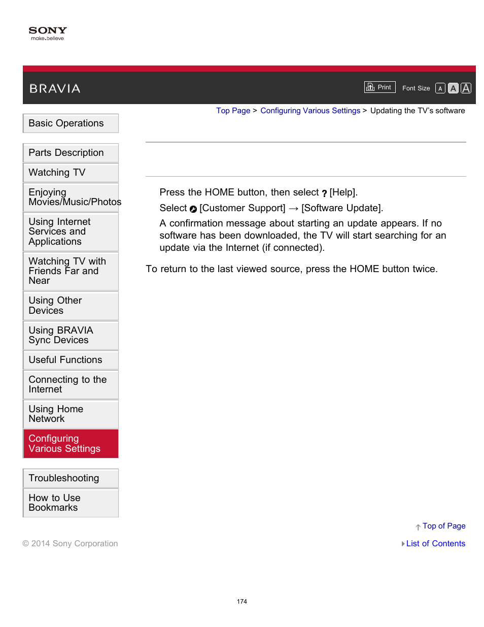 Updating the tv's software | Sony KDL-40W600B User Manual