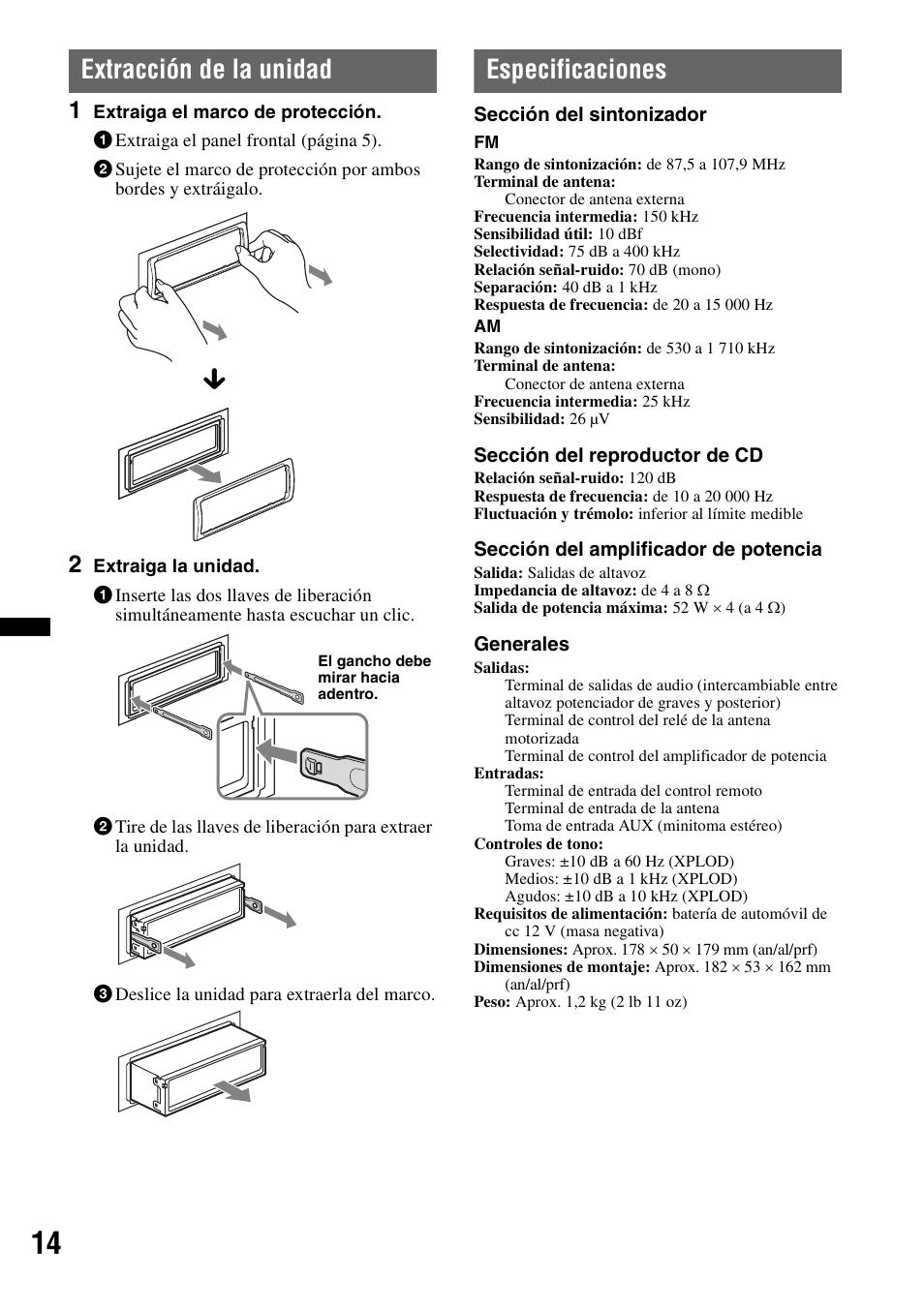 Extraccin De La Unidad Especificaciones Sony Cdx Gt25mpw Wiring Diagram User Manual Page 30 36