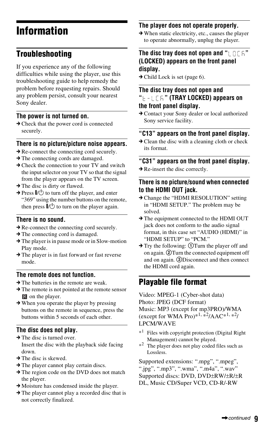 Information, Troubleshooting, Playable file format   Sony DVP-SR500H User  Manual   Page 9 / 12