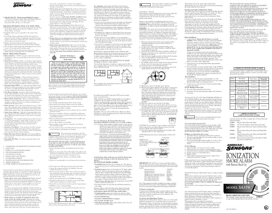 American Sensor 120 VAC HARDWIRE SA379 User Manual | 1 page