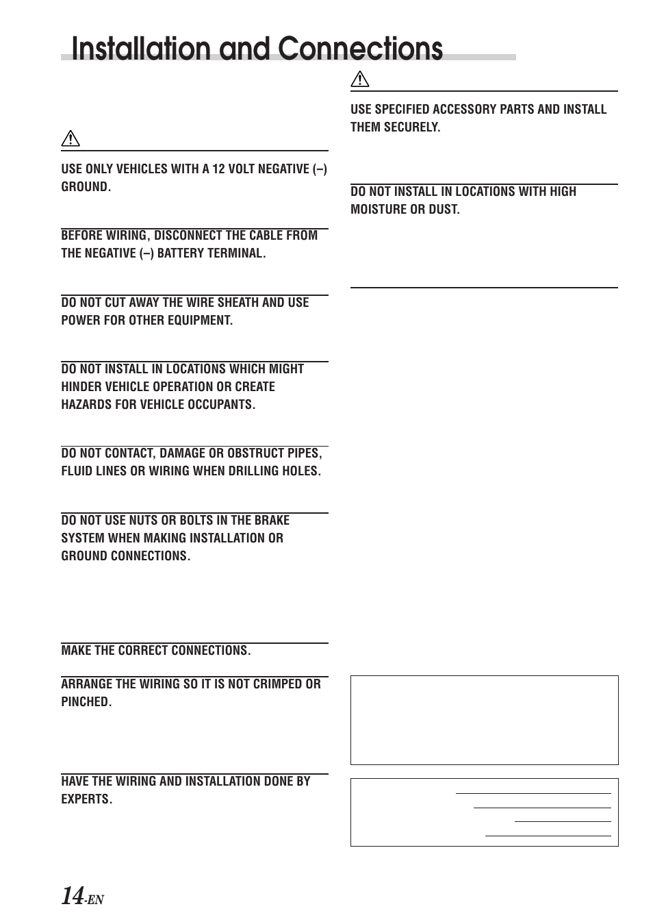 installation and connections warning caution alpine cde 7853 user manual page 16 19