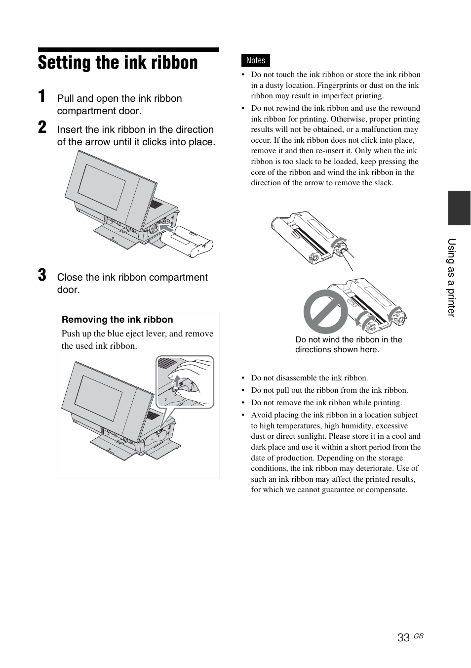 setting the ink ribbon sony dpp f700 user manual page 33 109 rh manualsdir com Sony User Manual Guide Sony Operating Manuals ICD-UX523