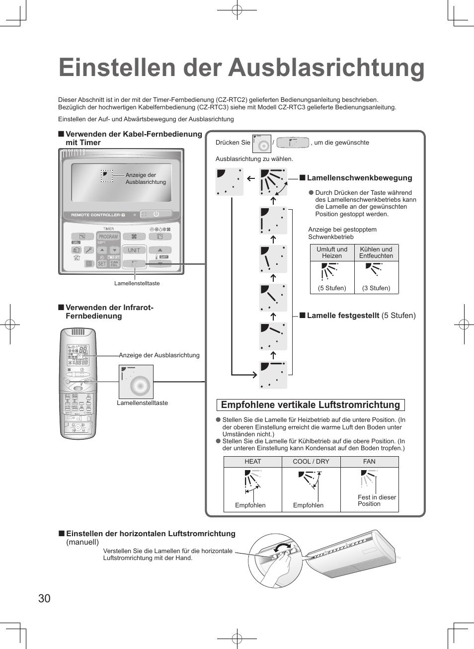 Einstellen der ausblasrichtung, Empfohlene vertikale luftstromrichtung |  Panasonic S106MF2E5A User Manual | Page 30 /