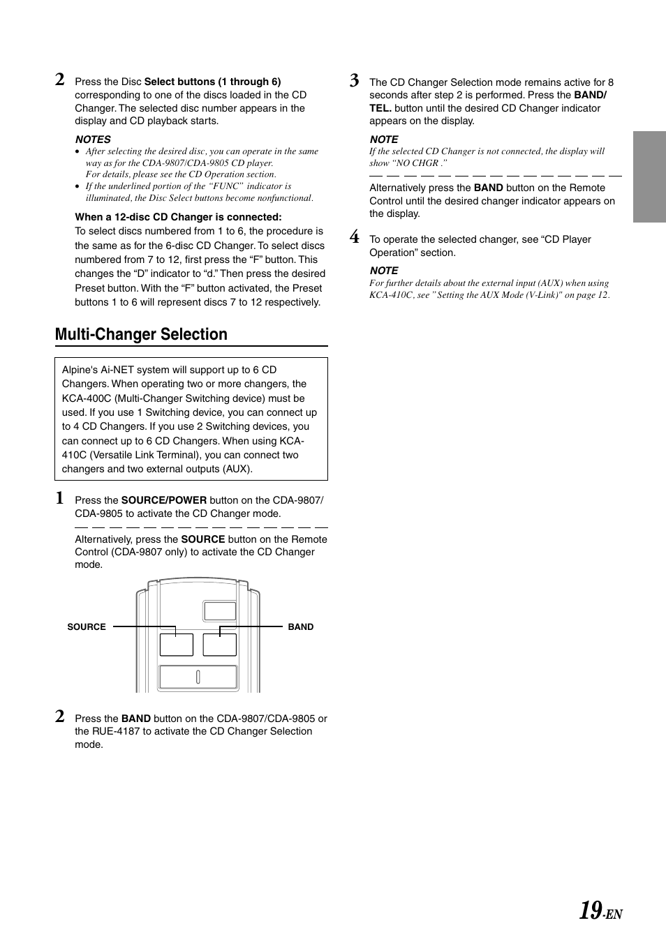 multi changer selection alpine cda 9807 user manual page 21 41 rh manualsdir com Alpine CDA 9805 Manual Alpine CDA 9807 Connector