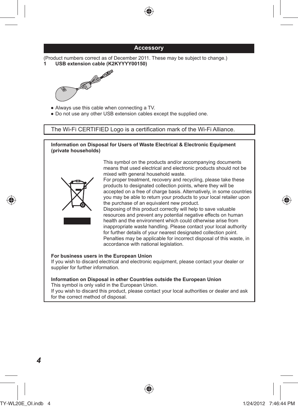 Panasonic Tywl20e User Manual Page 4 42