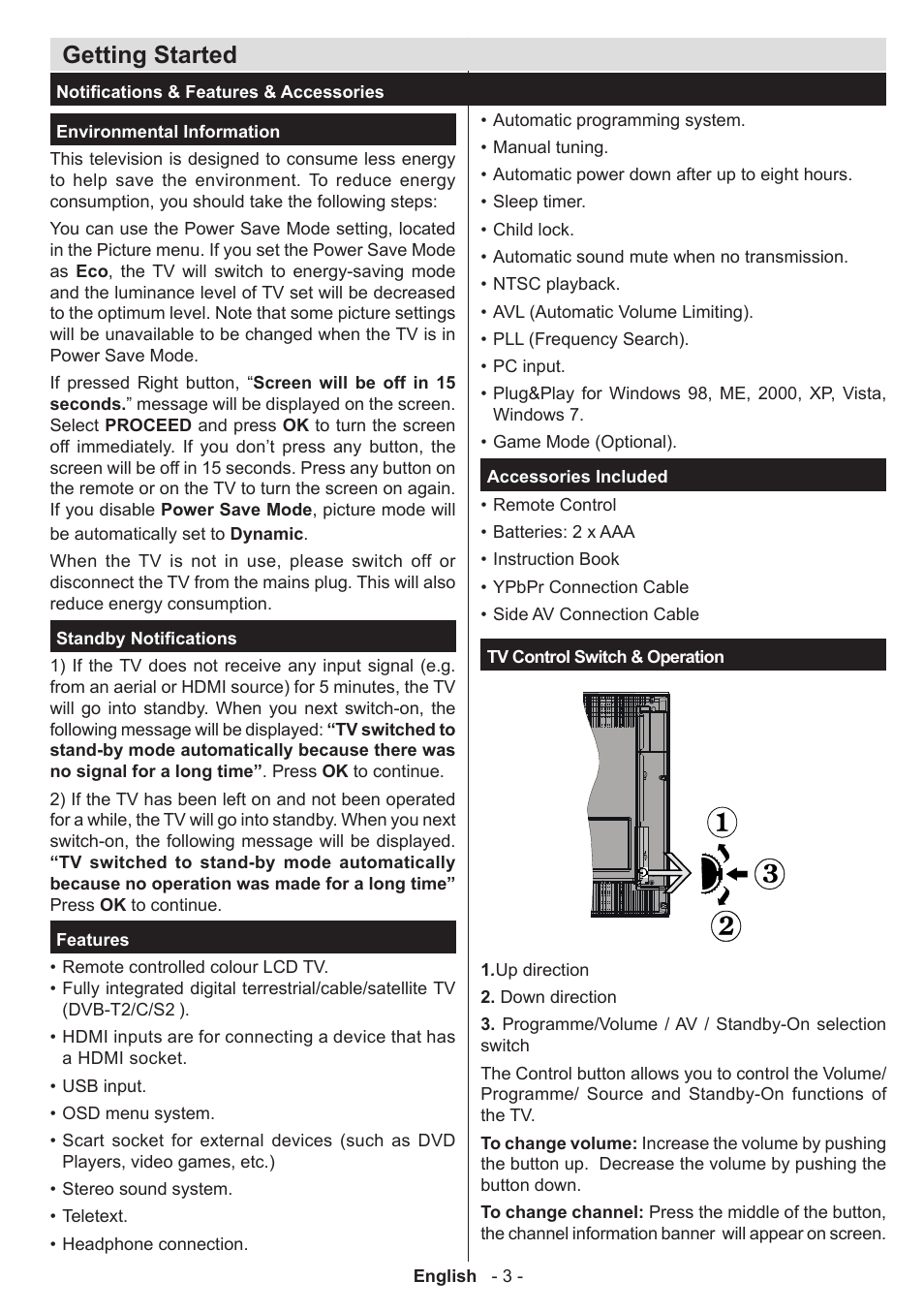 Getting started | Panasonic TX32AW304 User Manual | Page 4 / 89