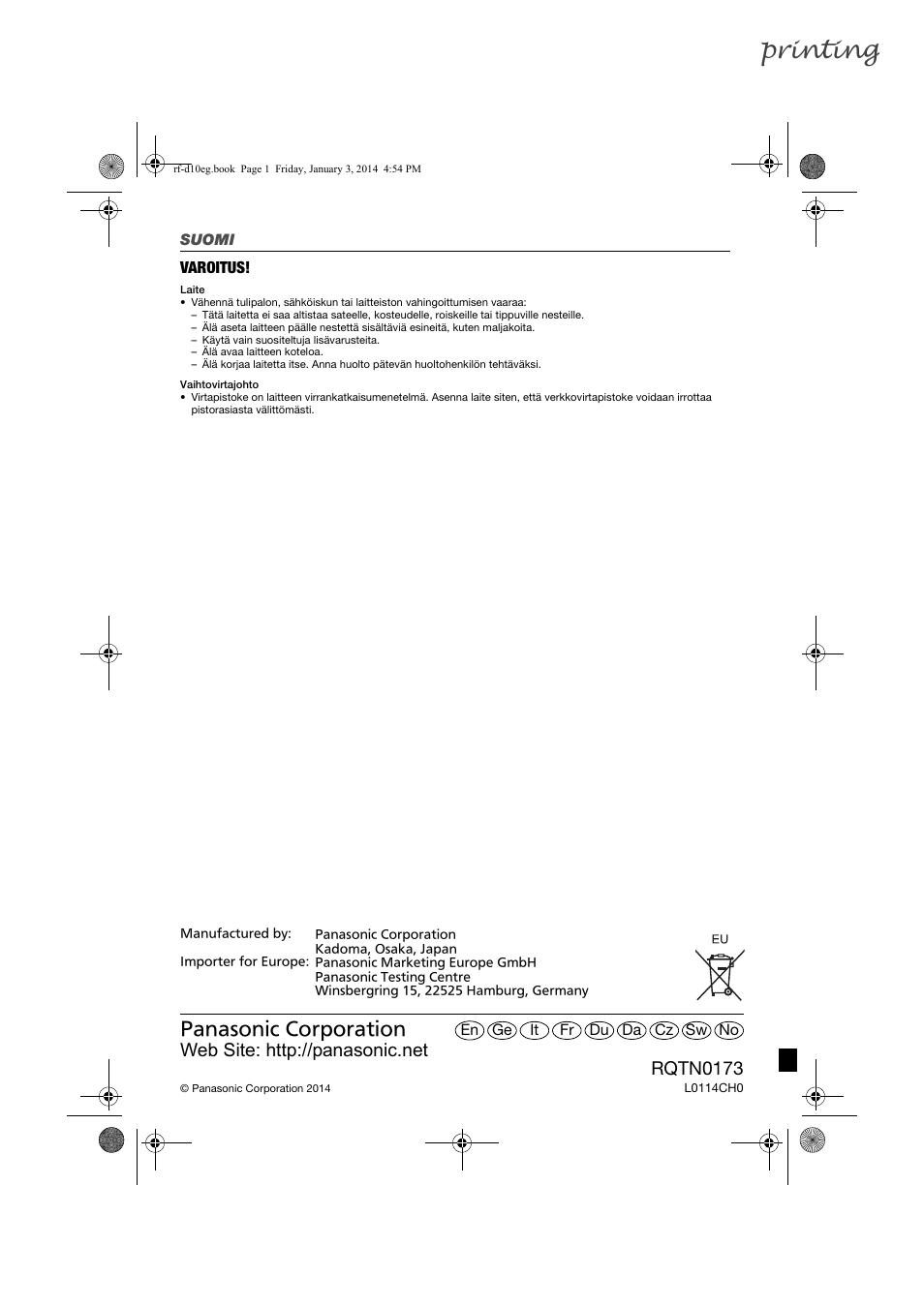 printing rqtn0173 panasonic rfd10eb user manual page 56 56 rh manualsdir com HP Printer Manuals PDF Manual Stencil Printer