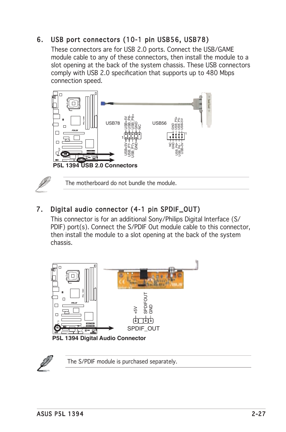 Asus Psl 1394 Manual Photos Collections Usb Cable Wiring Diagram The S Pdif Module Is Purchased Separately Spdif Out Motherboard P5l Installation