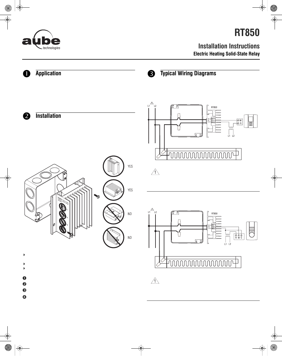 Aube Technologies Electric Heating Solid State Relay Rt850 User Terminal Wiring Manual 2 Pages