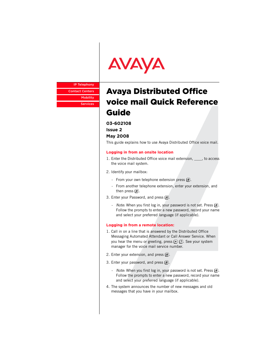 Avaya Distributed Office Voice Mail User Manual 8 Pages