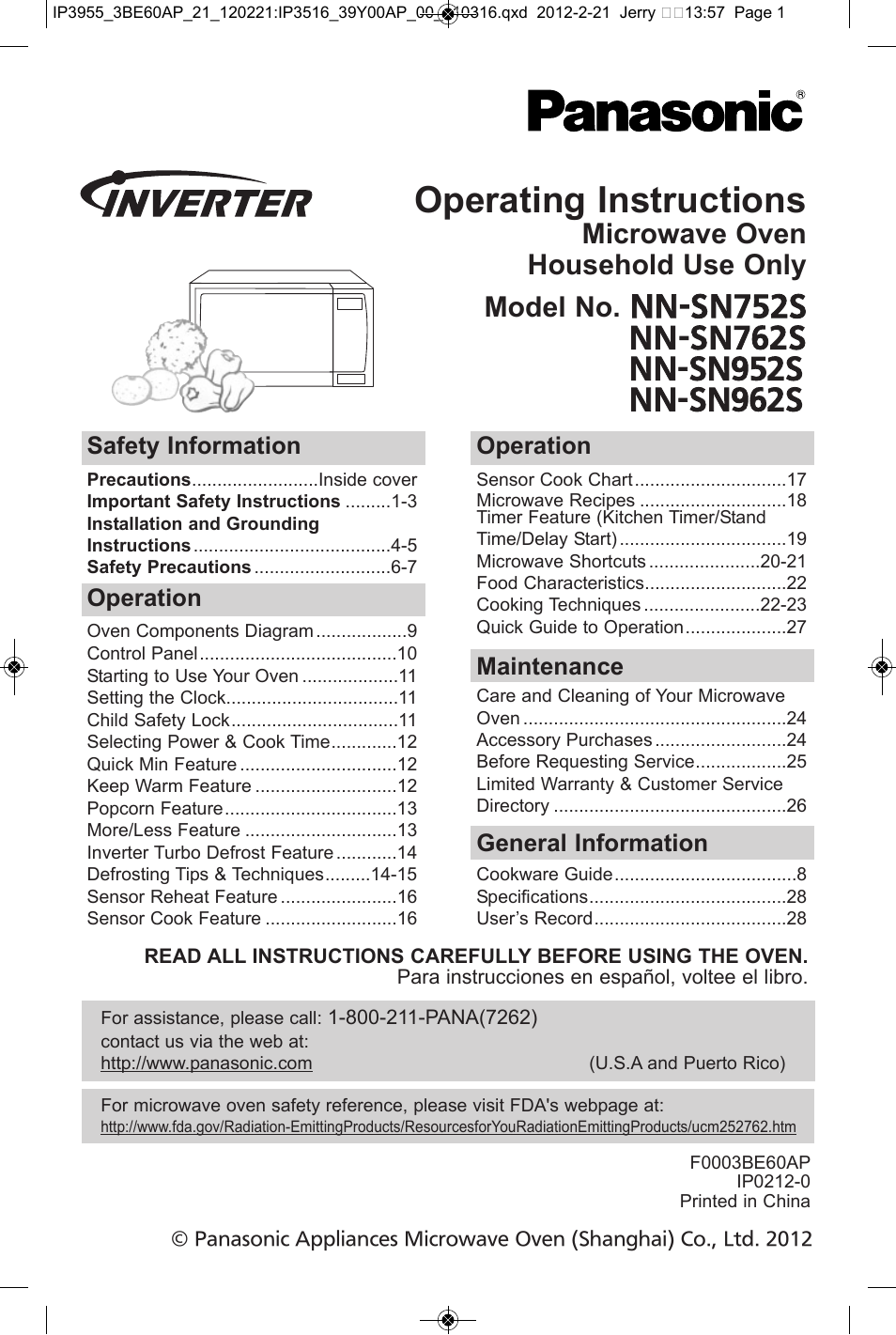Panasonic Microwave Inverter Manual Full Image For