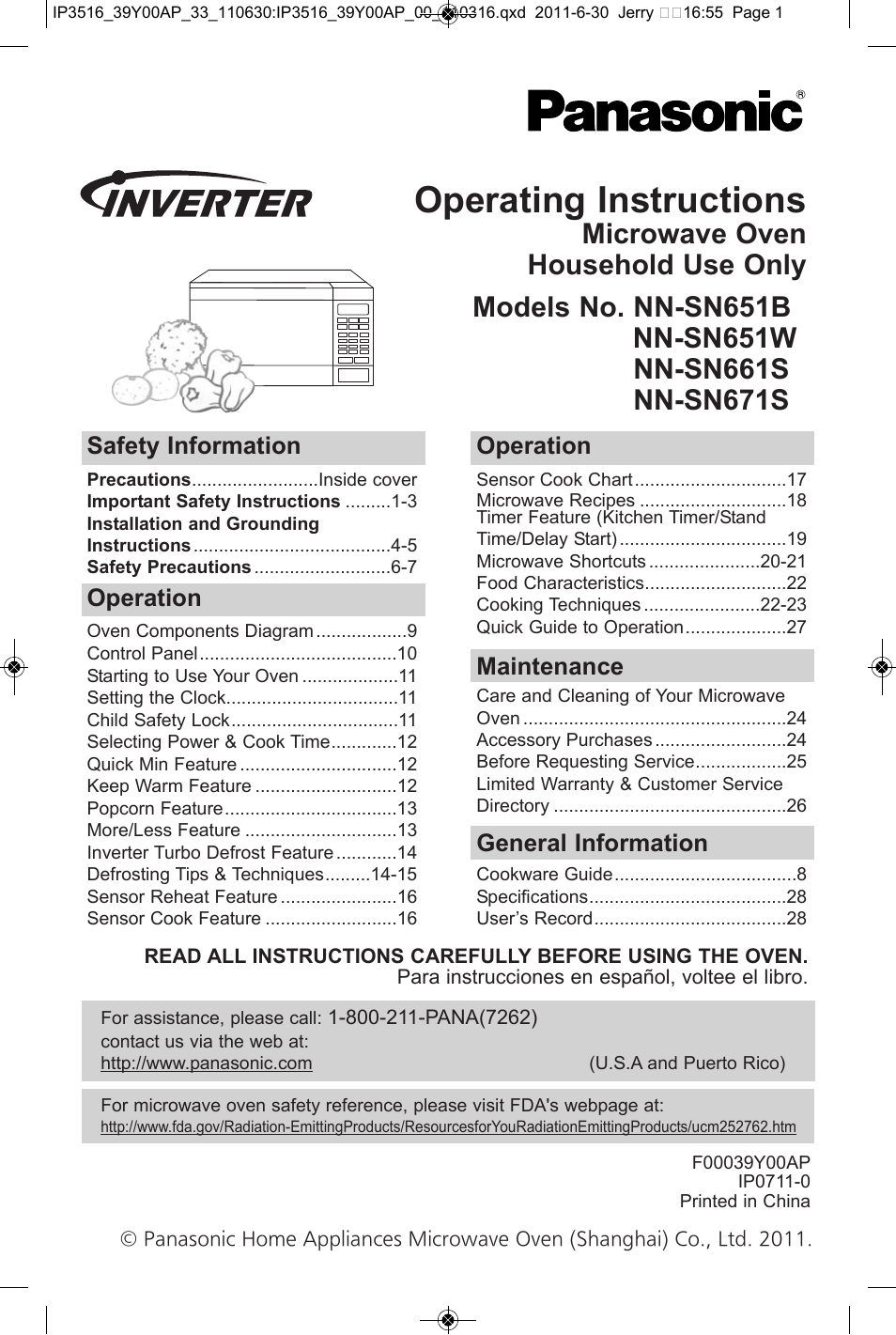 Panasonic Nn Sn651b User Manual 30 Pages Also For Nn