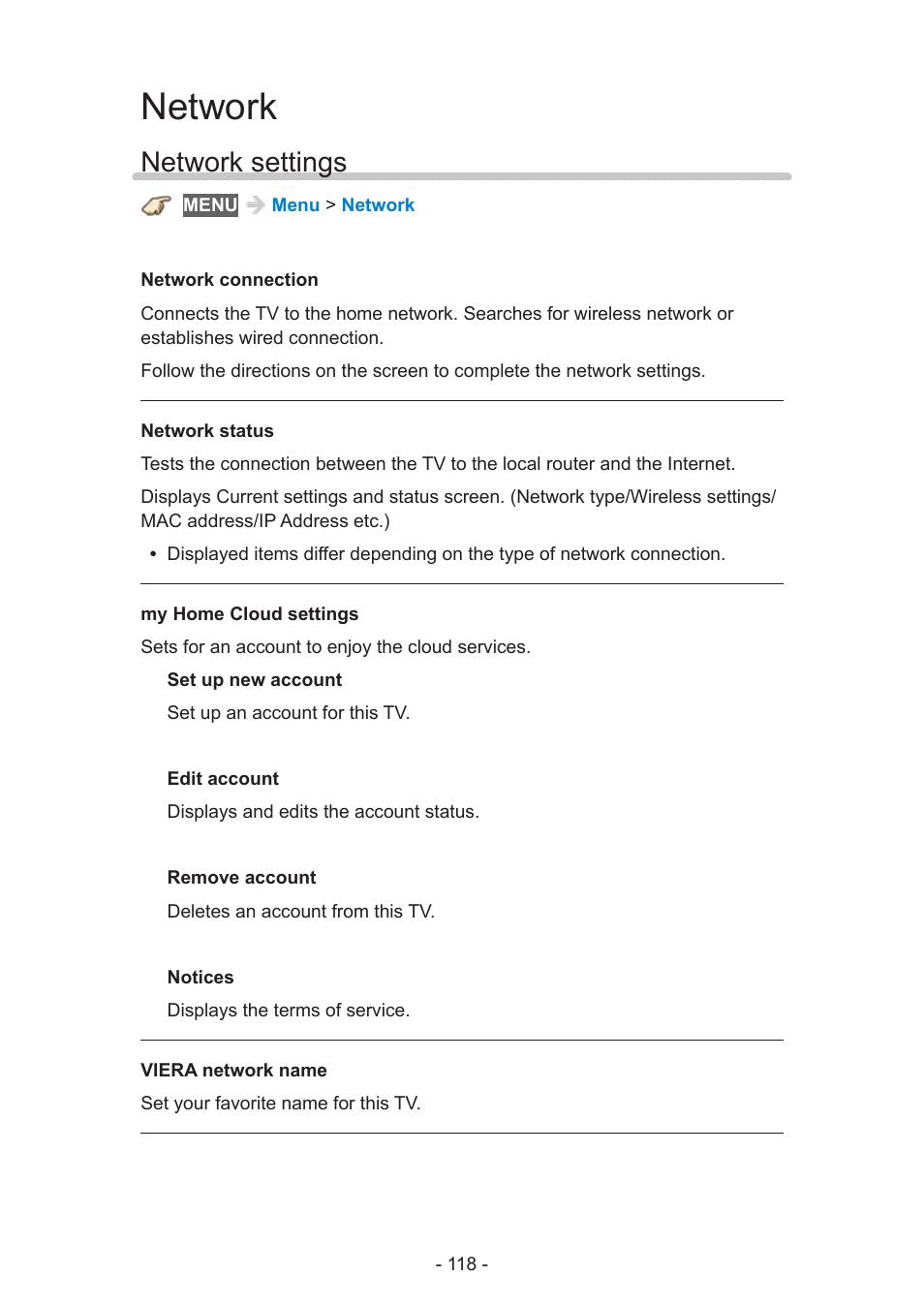Network, Network settings | Panasonic TC-55AS530U User