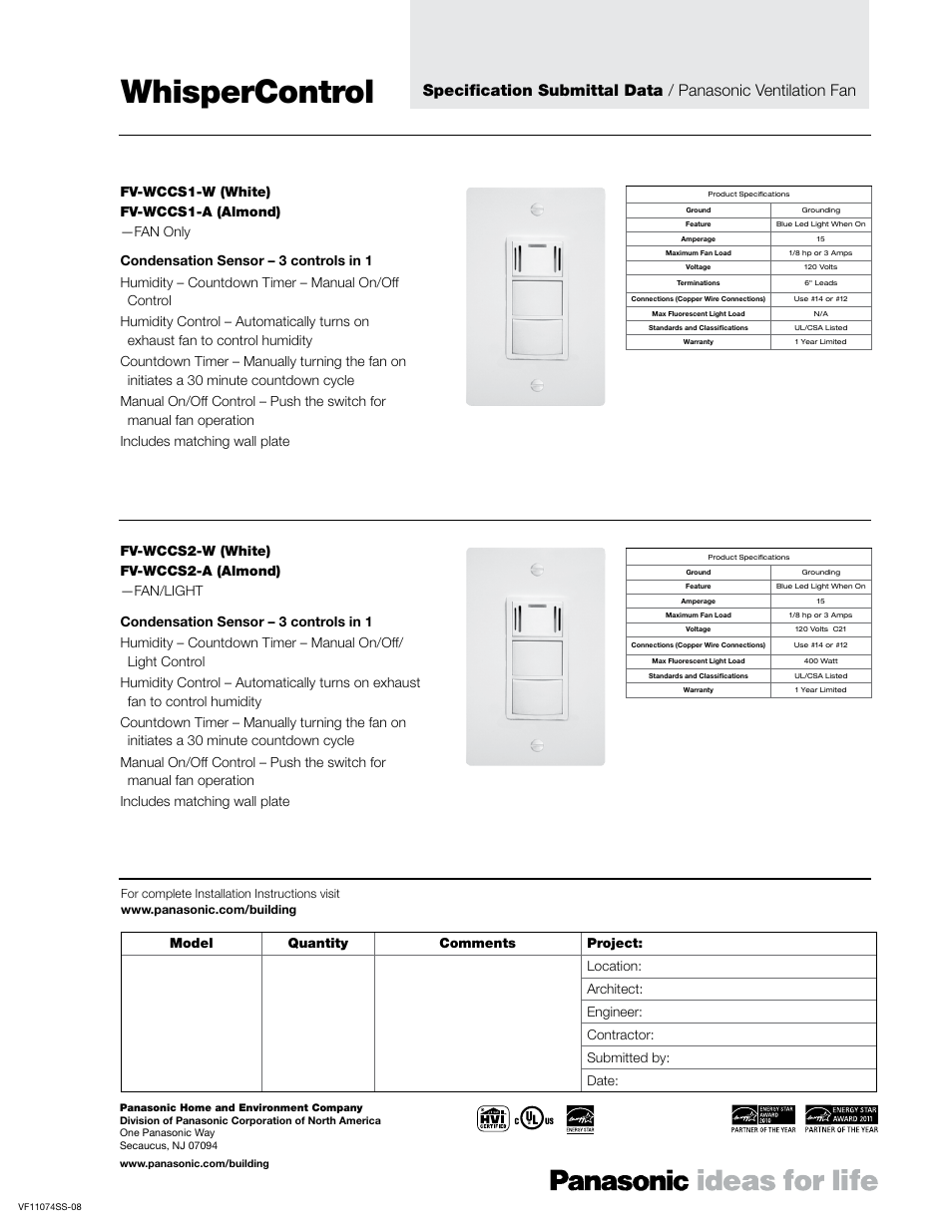 Panasonic Fv Wcsw41 W User Manual 2 Pages Also For Wcsw11 A Ventilating Fan Switch Wiring Diagram Wcsw31 Wcsw21