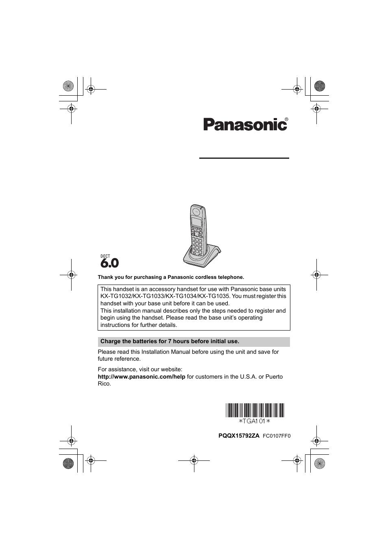 Panasonic KX-TGA101S User Manual | 16 pages
