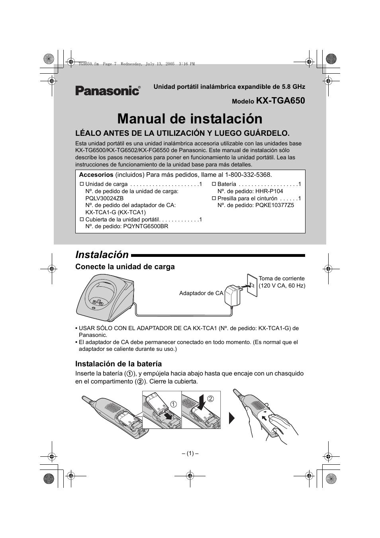 Manual en español de panasonic kx-tga931t.