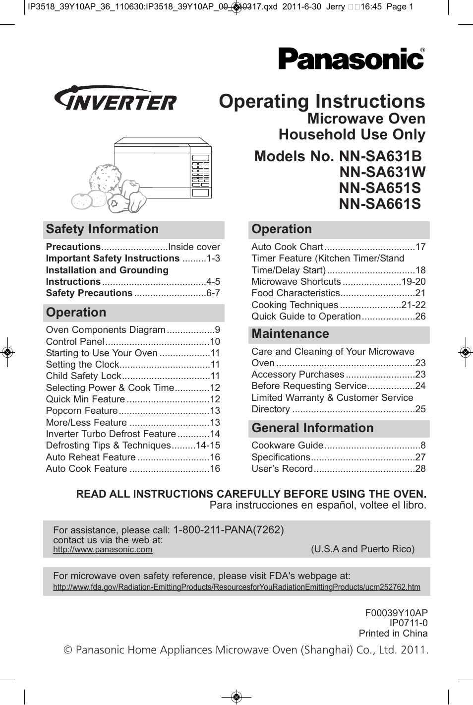 Panasonic Nn Sa651s User Manual 60 Pages