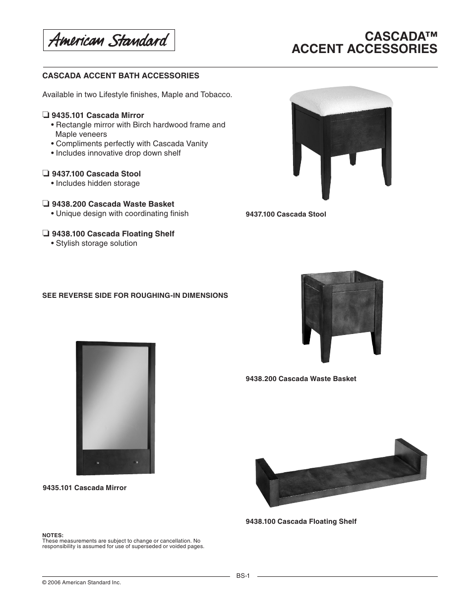 American Standard Cascada Accent Bath Accessories User Manual 2 Pages Also For