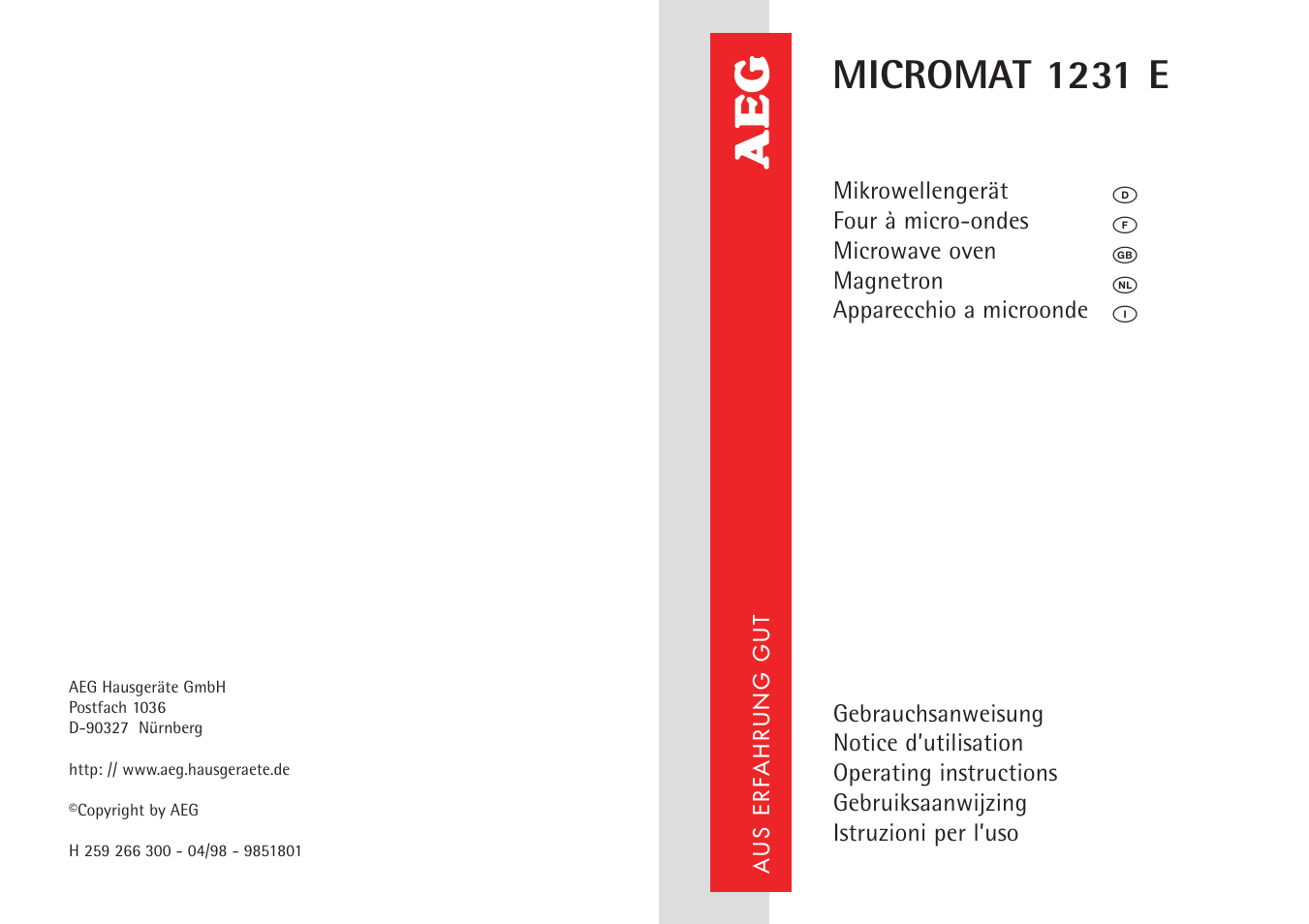 Aeg Micromat 1231 E User Manual 33 Pages