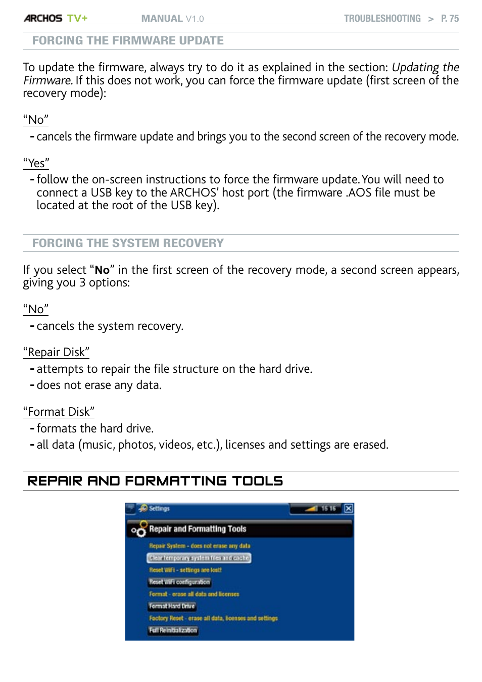 Repair and formatting tools | ARCHOS TV+ User Manual | Page