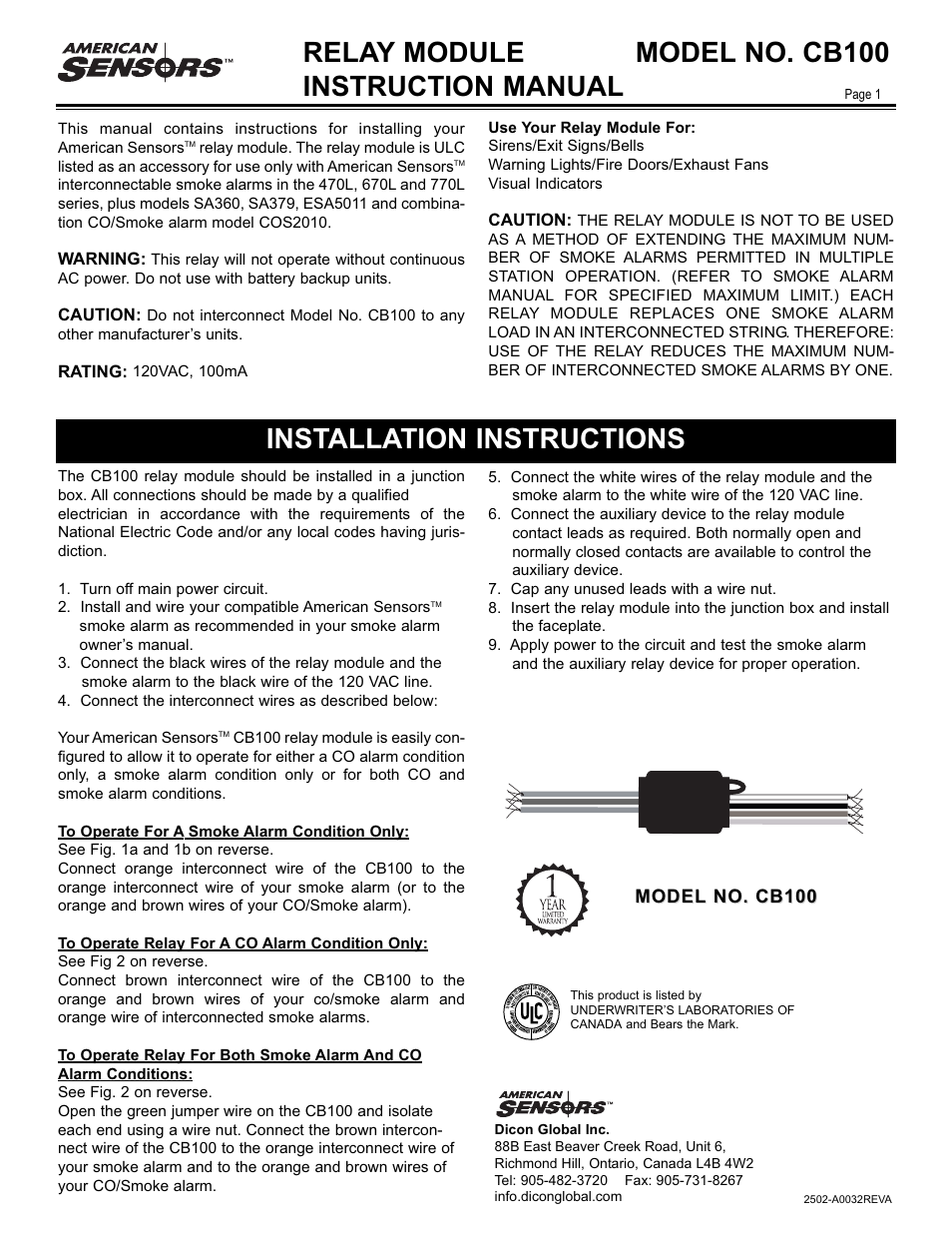 American Sensor CB100 User Manual | 2 pages