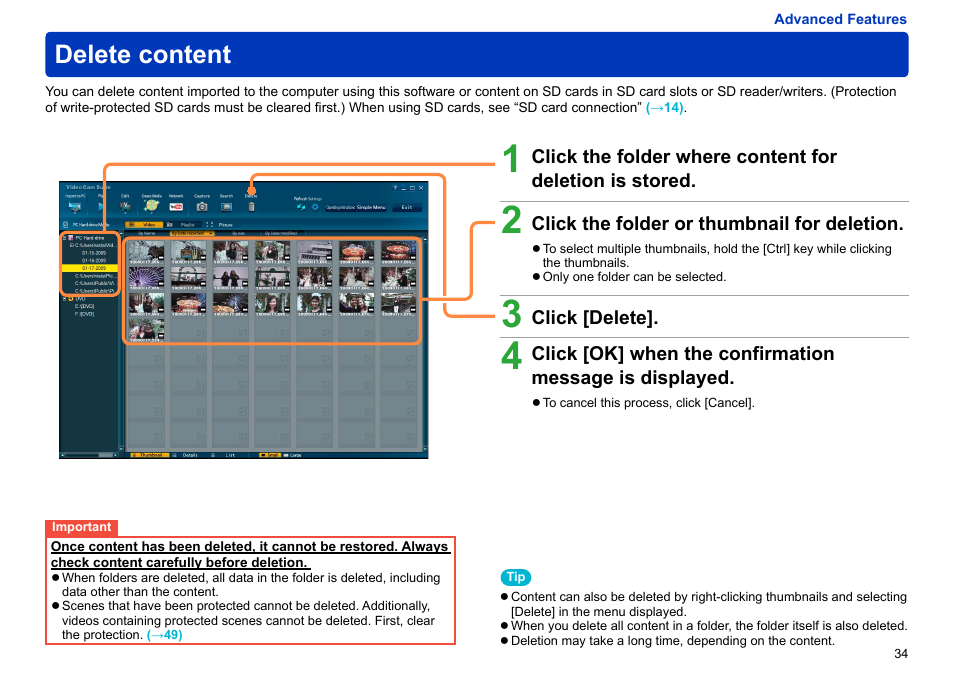 Delete content   Panasonic -eng User Manual   Page 34 / 103