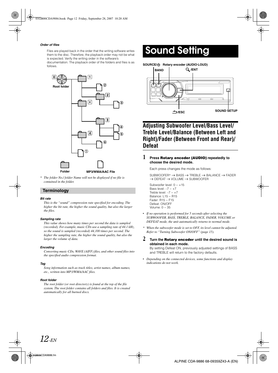 sound setting alpine cda 9886 user manual page 14 88 rh manualsdir com alpine cda-9886r manual alpine cda-9886 service manual