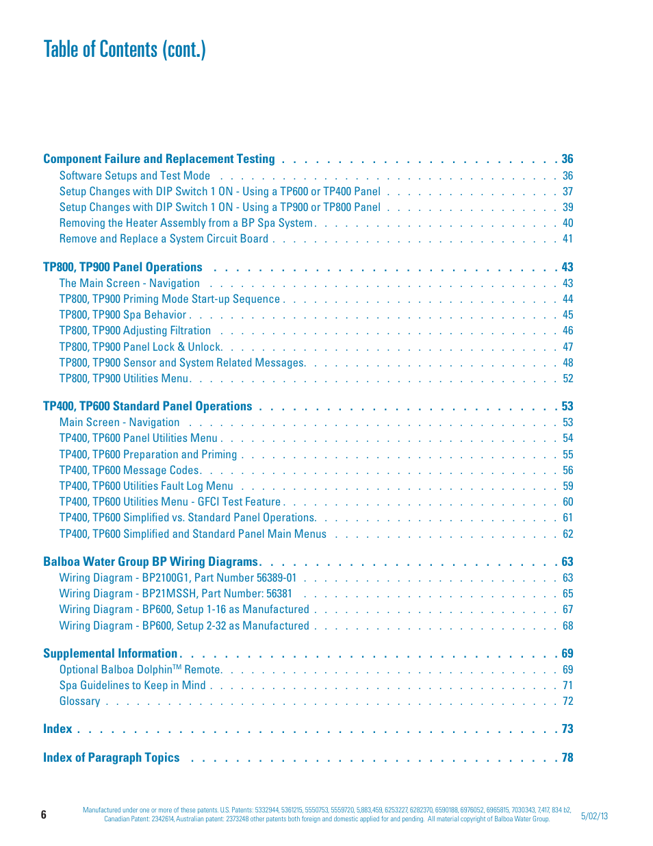 Table of contents (cont.) | Balboa Water Group BP 50Hz User Manual on spa diagram, balboa control diagram, balboa schematic, balboa heater, balboa control panel,