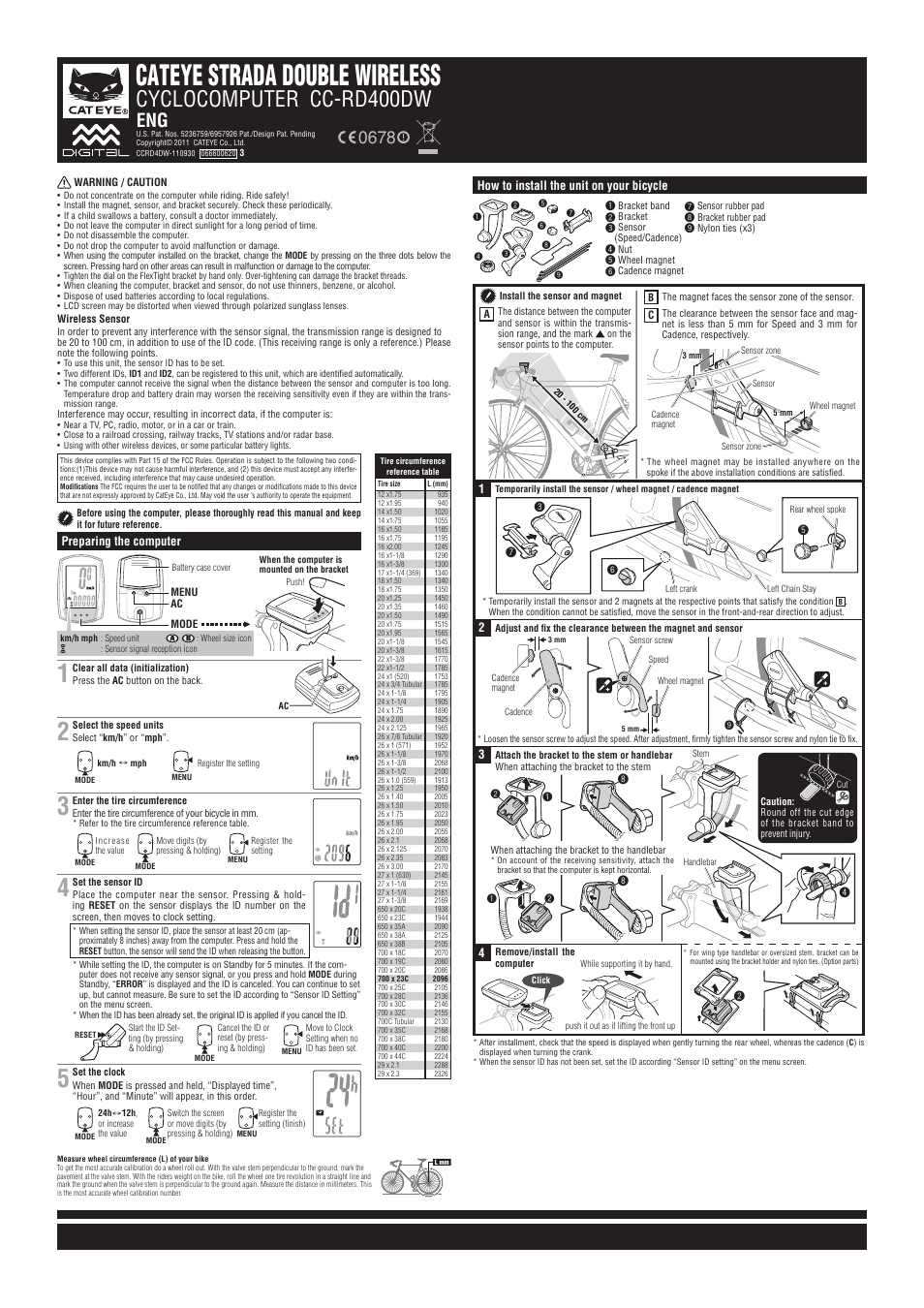 Cateye Cc Rd400dw Strada Double Wireless User Manual 2 Pages