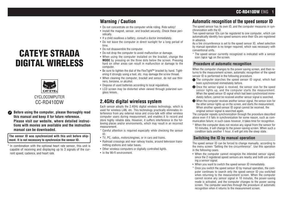 Cateye Cc Rd410dw Strada Digital Wireless User Manual 9 Pages