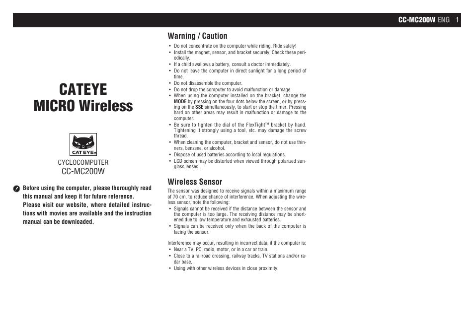 Cateye Cc Mc200w Micro Wireless User Manual 9 Pages