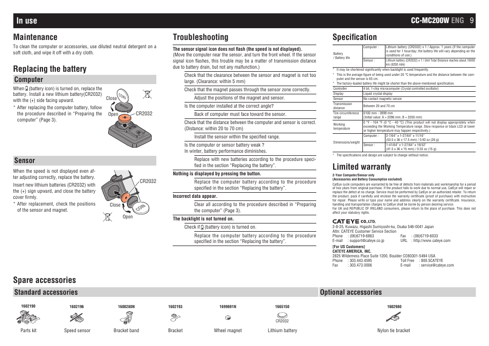 Replacing The Battery Troubleshooting Specification Cateye Cc