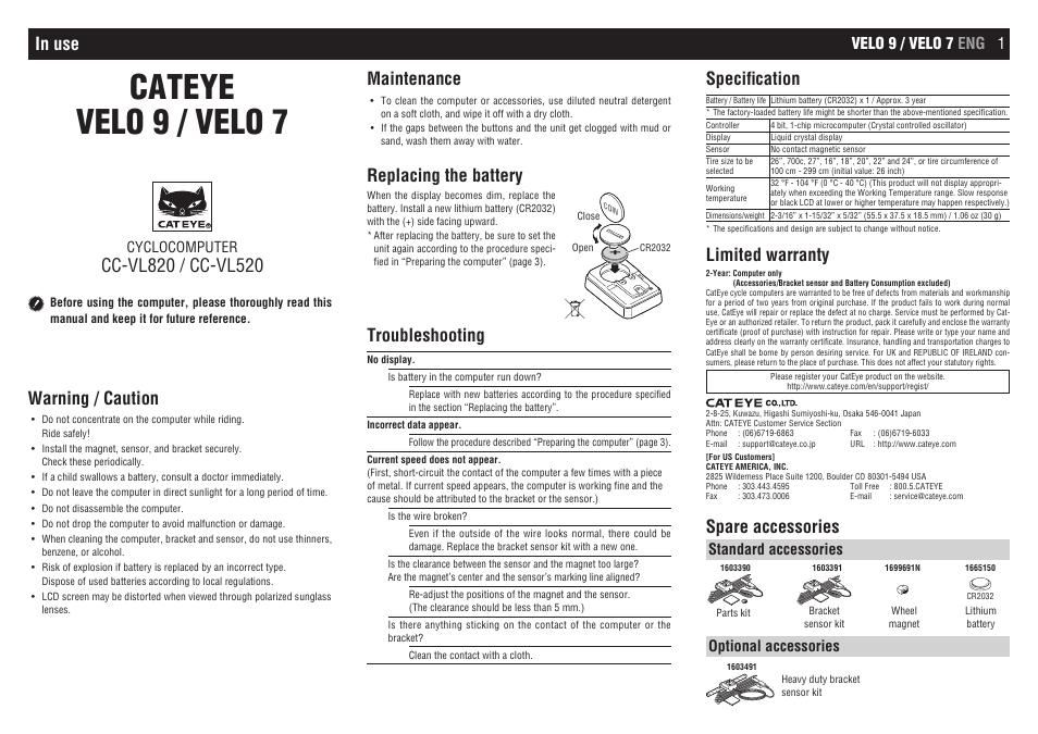 Cateye Cc Vl520cc Vl820 Velo 7velo 9 User Manual 4 Pages
