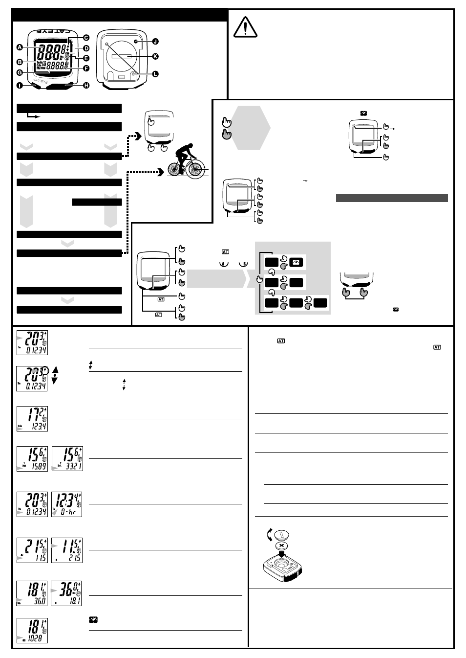 operating instructions  precautions  how to attach to Cat Eye Com Cat Eye Cadence Computer Install