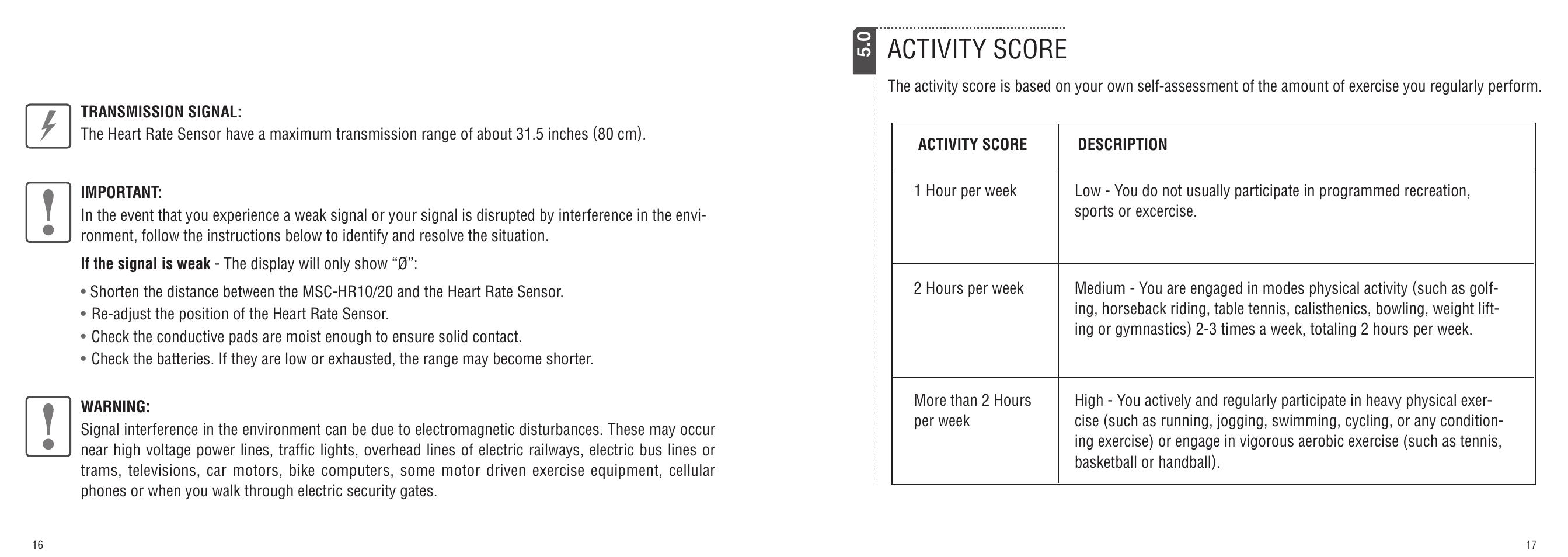 ... Array - activity score cateye msc hr10 msc hr20 user manual page 9 14  rh manualsdir