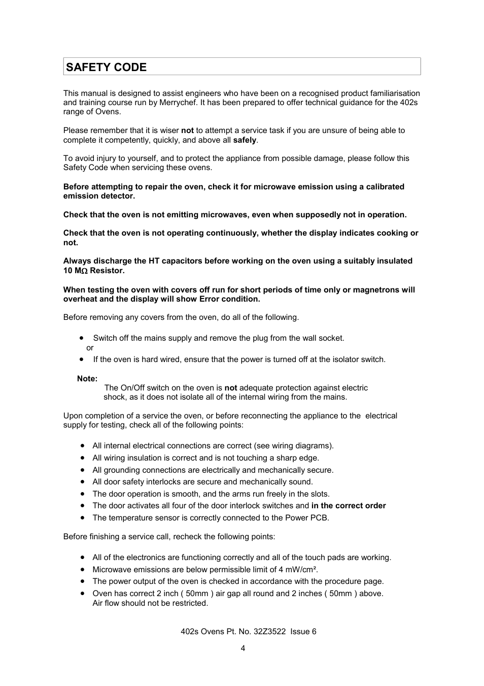 Safety code | Merrychef 402s User Manual | Page 4 / 51
