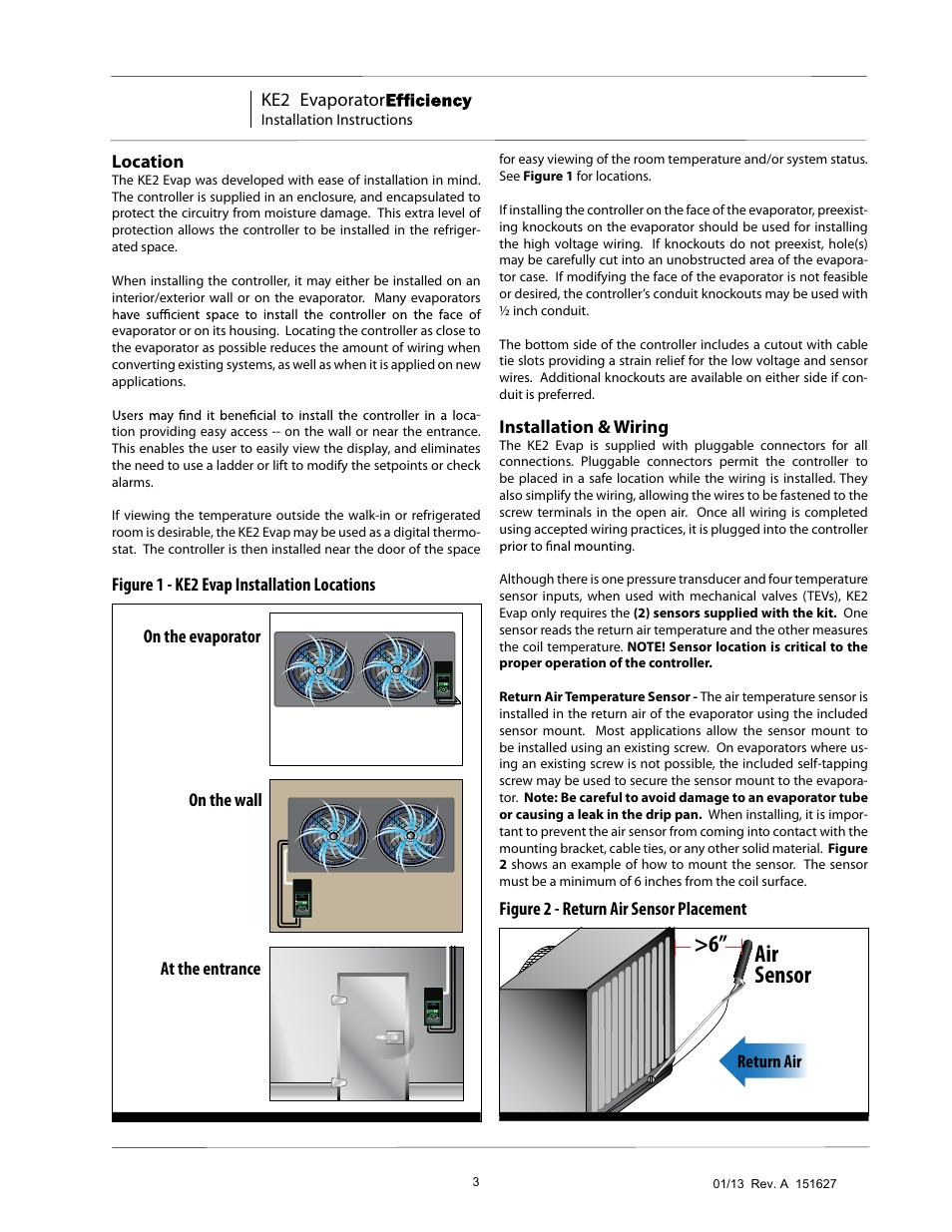 Air sensor >6, Ke2 evaporator, Installation & wiring | Nor-Lake
