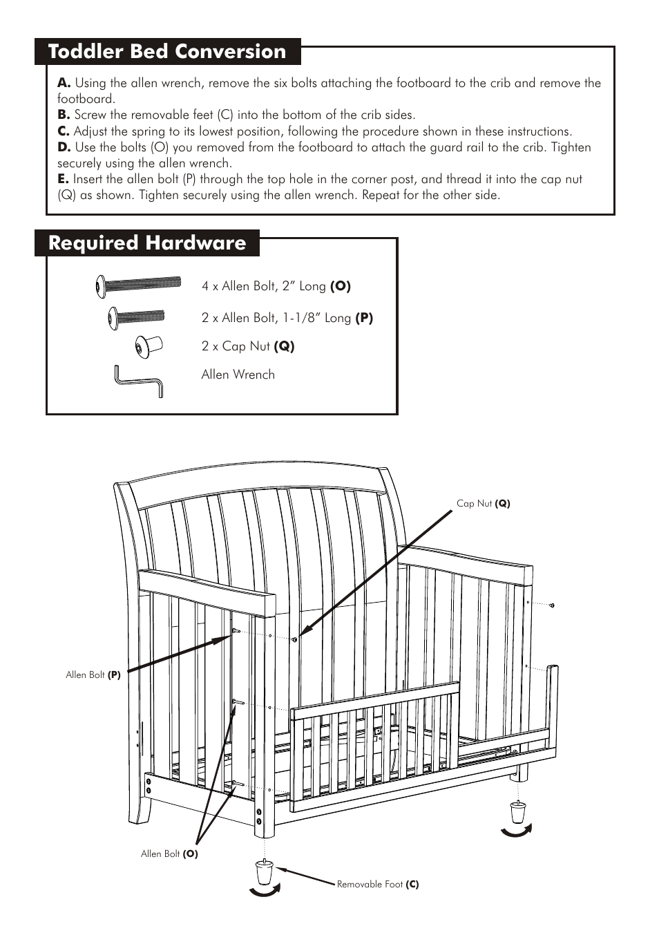 Toddler Bed Conversion Required Hardware Westwood Design Brookline Convertible Crib User Manual Page 11 13
