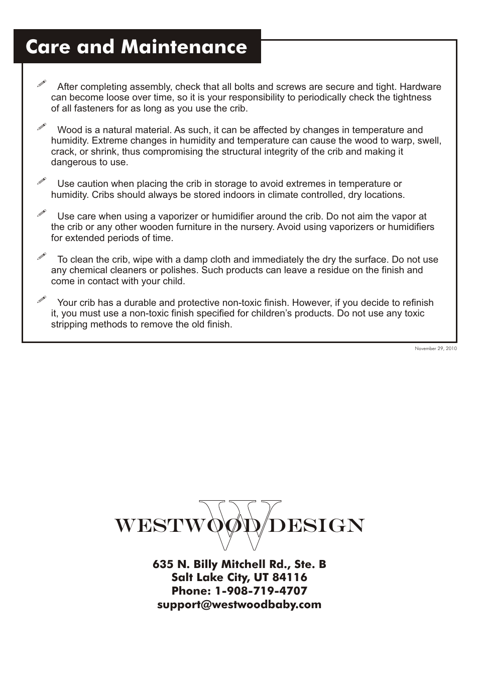 Care And Maintenance Westwood Design Brookline Convertible Crib User Manual Page